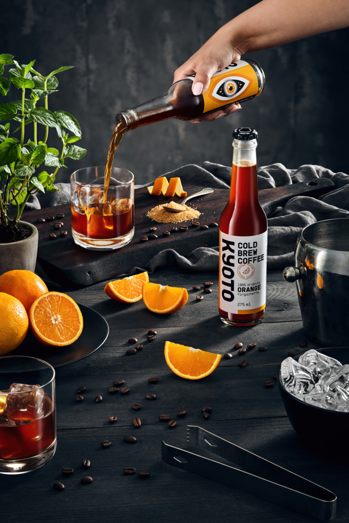 advertising photography of coffee drink on wooden table