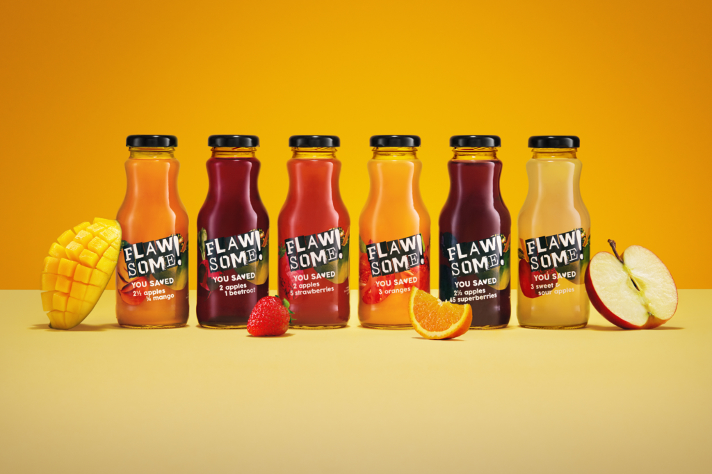 flawsome drinks juice in bottles with fruits