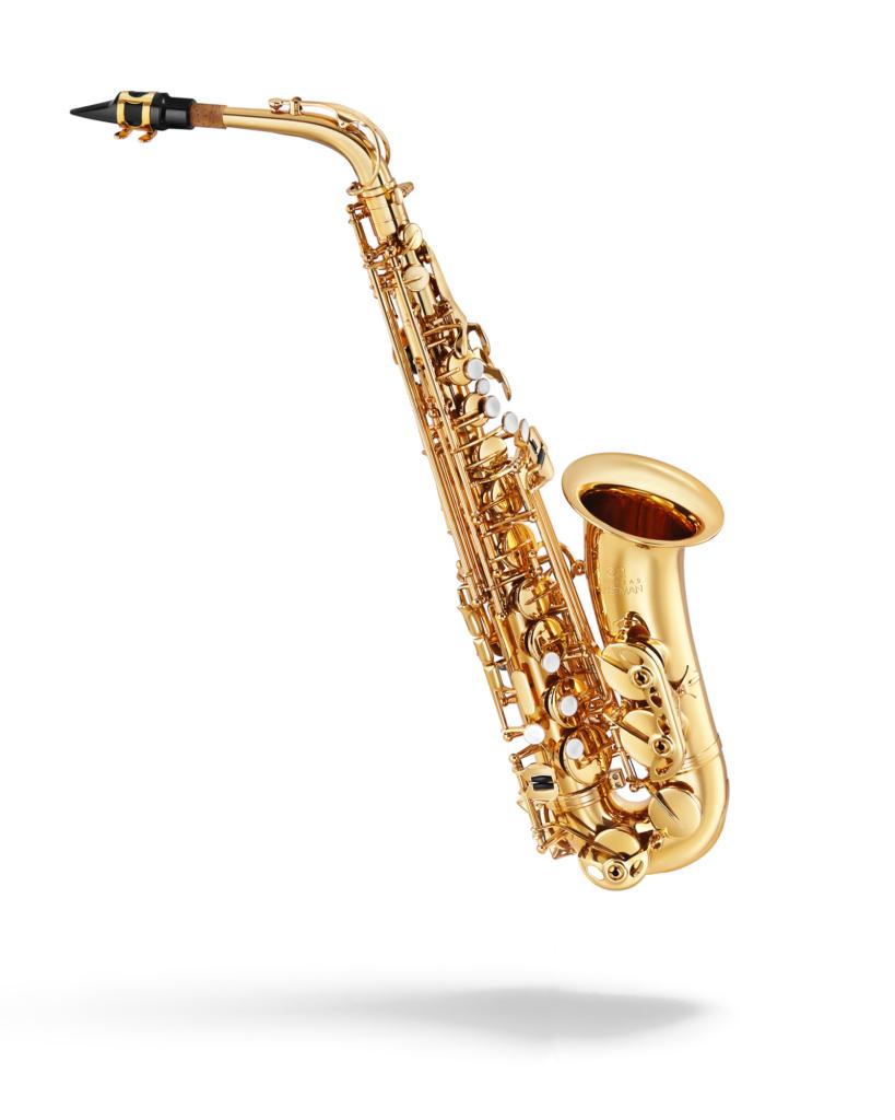 alto saxophone on a white background