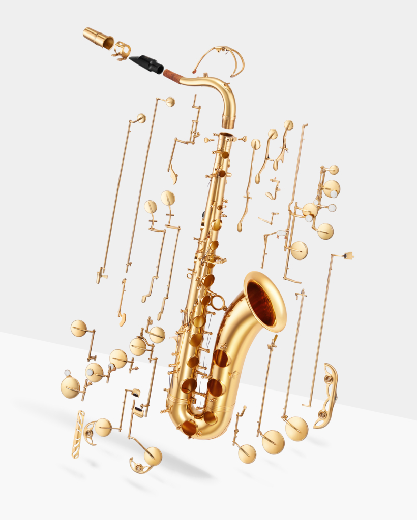 Disassembled deconstructed levitating music instrument tenor saxophone