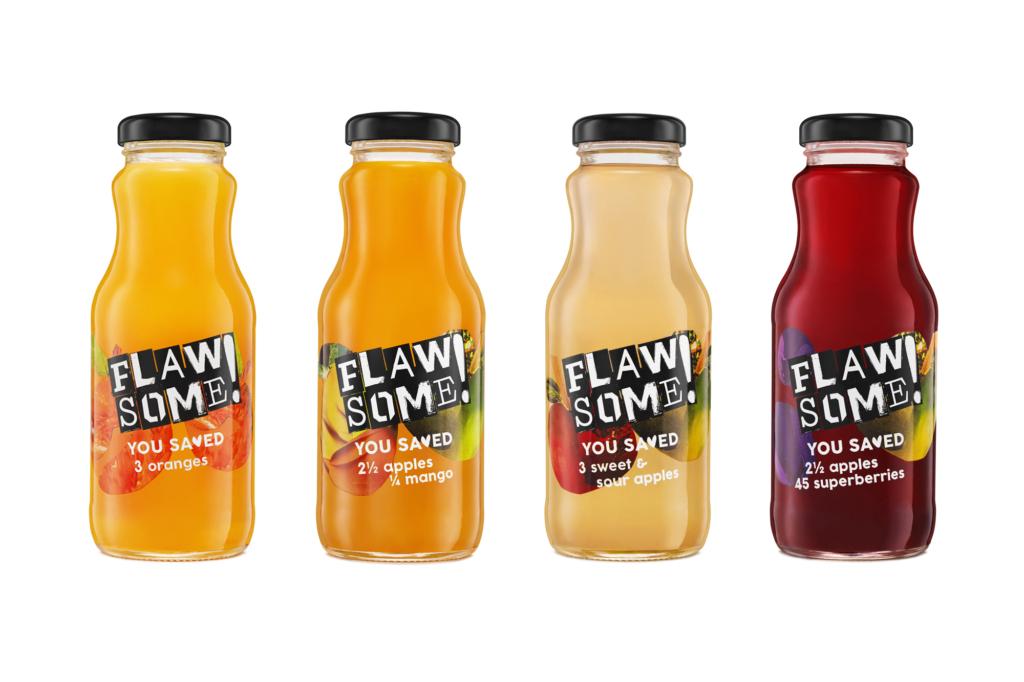packshot of fruit juice in bottles